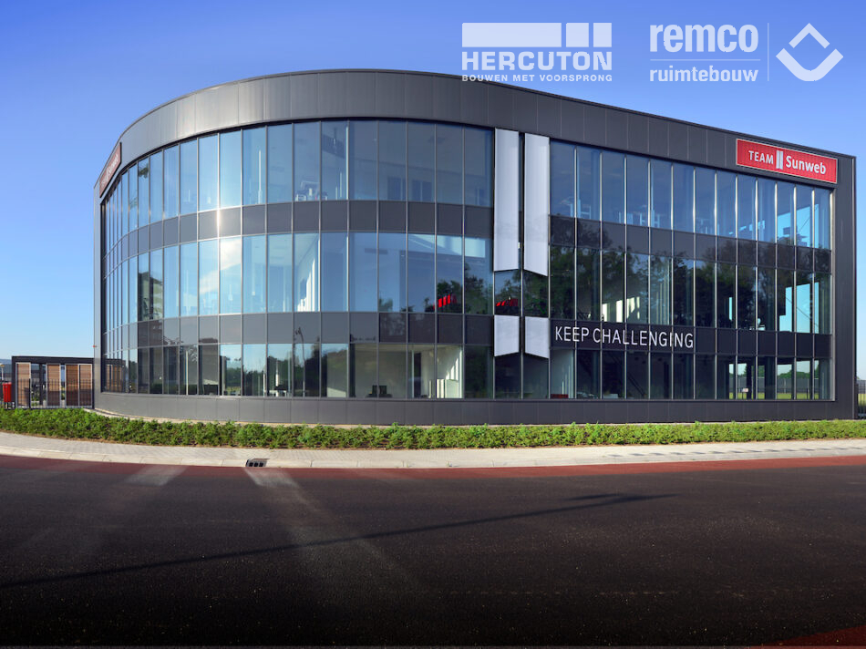Bouwcombinatie Hercuton / Remco Ruimtebouw heeft het nieuwe hoofdkantoor van Team Sunweb turn-key gerealiseerd.
