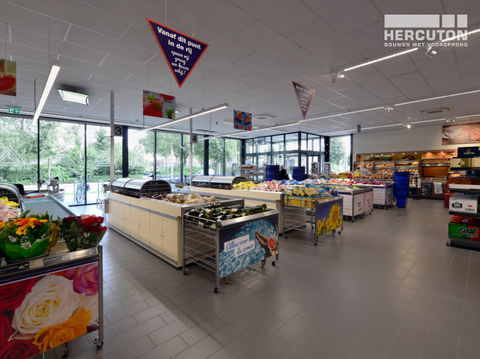 Nieuwbouw Aldi winkel Drachten gerealiseerd door Hercuton