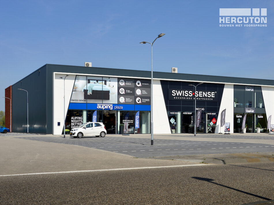 Hercuton realiseert bedrijfsverzamelgebouw met 3 beddenwinkels in Duiven