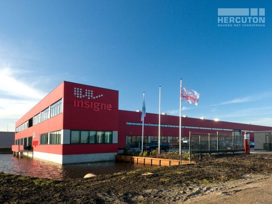 Hercuton heeft voor Insigne in Molenaarsgraaf een prachtige bedrijfsruimte met kantoor gerealiseerd. - aanzicht