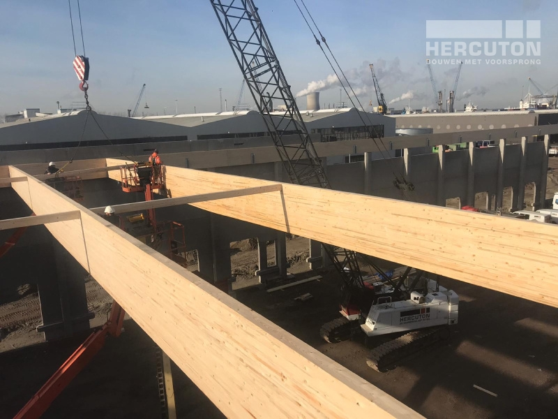 Plaatsen houten spanten bij nieuwbouw opslag- en distributiehal Inter-Sprint Zeehavenweg Moerdijk