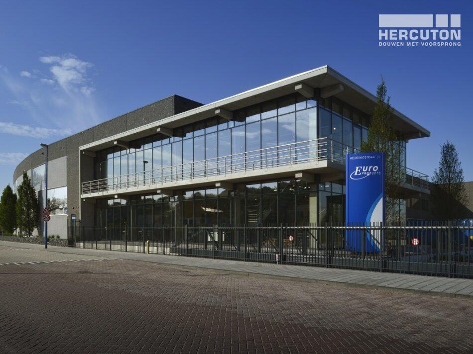 Nieuwbouw kantoor met bedrijfshal MTS Euro Products door Hercuton b.v.
