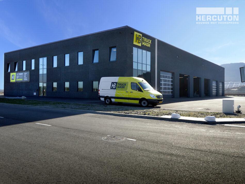 Nieuwbouw HB Truckwash Maasvlakte Rotterdam gerealiseerd door Hercuton