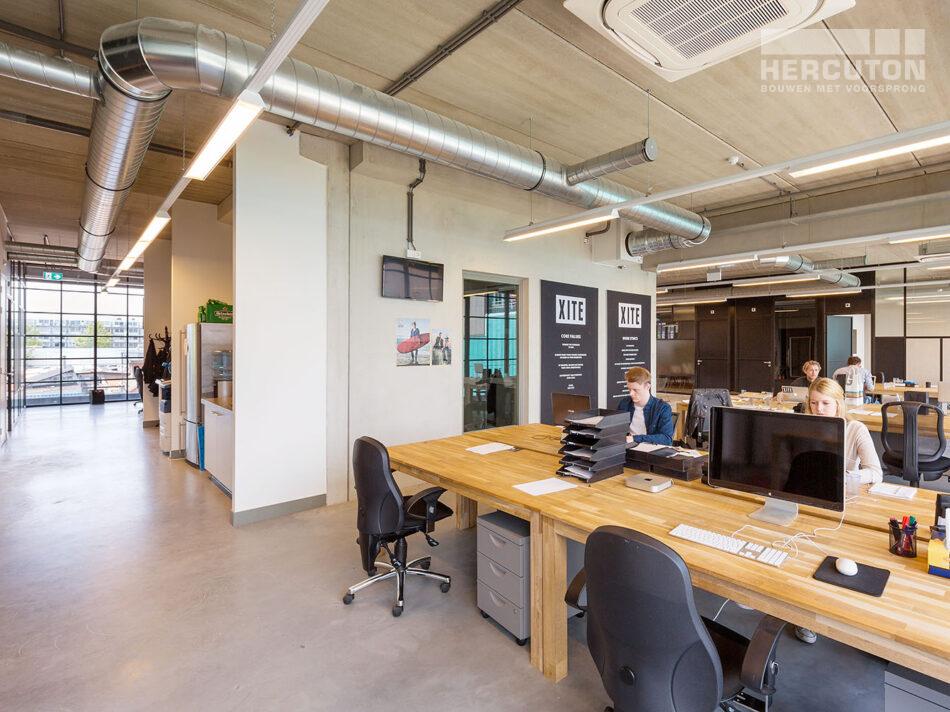 Nieuwbouw hoofdkantoor Xite Amsterdam - kantoortuin